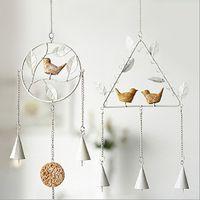 decoraciones para pájaros al por mayor-Hecho a mano diy carillón de viento triángulo forma redonda eolian bells bird metal windbell para la sala de estar casera decoración 8 5hl b