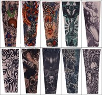 Wholesale Tattoo Stockings Black - Fashion Nylon Tattoo Sleeve Stretchy Arm Stocking Mix 108 Styles Pop Design Apparel For Men Tattoos Sleeves Oversleeves Free DHL L4