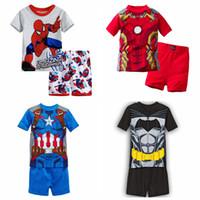 bebek pijama kısa kollu toptan satış-Yeni geldi Çocuk giyim erkek kız çocuk karikatür kısa kollu set yaz salonu çocuk Pijama set bebek seti uyku giymek