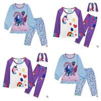 Wholesale Christmas Sleepwear For Boys - Unicorn Pajamas for Baby Boys Girls Trolls Kids Clothing Christmas Long Sleeve Cartoon Sleepwear Girls Nightwear Trolls Christmas Gifts