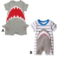 Wholesale Toddlers Romper Patterns - Cute Shark romper 2styles for Baby Boys Girls Short Sleeve jumpsuit Toddler Summer shark pattern Outfit Clothes