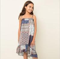 Wholesale Silk Bohemian Black Dress - 2016 Teenager Chiffon Floral Dresses Junior Bohemian Fashion Dress Big Kids Girls Autumn Singlet Dress Babies Christmas Clothing