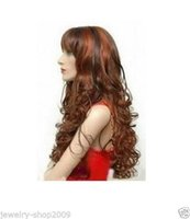 Wholesale Long Copper Red Wigs - 100%Free shipping New High Quality Fashion Picture Indian Mongolian wigs>>New long curly copper red & brown mix Hair wigs