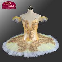 Wholesale Gold Ballerina - White Gold Professional Ballet Tutu Customized Adult Classical Ballet Tutu Ballerina Classical Performance Ballet Costume LD0070