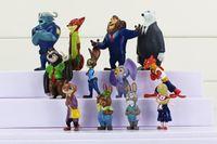 Wholesale Latex Cartoon Movies - Zootopia Cartoon Movie Utopia Action Figure Movie Pvc Mini Models Nick Fox Judy Rabbit Toy Doll 12pcs
