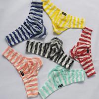 Wholesale transparent waist back - Thongs Thongs Men Fashion Sexy G String Transparent T Back U Convex Briefs Silk Thong Gay Mens Underwear Low Waist G Strings