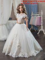 Wholesale portrait kid - Applique 3D Flowers Short Sleeves Floor Length 2018 Ball Gown Beautiful Flower Girl Dresses Cute Kids Formal Wear