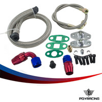 Wholesale Feed Lines - PQY RACING- Oil Feed Line Drain Fitting Flange Kit For Toyota Supra 1JZGTE 2JZGTE 1JZ 2JZ Single Turbo PQY-TOL22