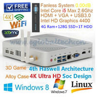 mini pc sans ventilateur hdmi achat en gros de-Intel Core I5 ​​4200U Fanless Mini PC Ordinateur Windows OS 4GB Ram 128Go SSD 1 To HDD HDMI USB3.0 Haswell Thin Client HTPC