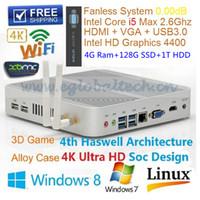 128gb mini toptan satış-Intel Core I5 4200U Fansız Mini bilgisayar pc Windows işletim sistemi 4 GB Ram 128 GB SSD 1 TB HDD HDMI USB3.0 Haswell İnce İstemci HTPC