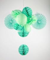 lanternas decorações para casamentos venda por atacado-Menta Sombra 10x Decoração Do Partido Set Bolas De Tecido / Ventiladores De Tecido / Pompons De Tecido / Lanternas / Favo De Mel Gota Decor Casamentos Chuveiros