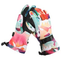 Wholesale Leopard Mittens - Facotry wholesle Womens leopard print ski gloves full fingers mittens skiing gloves sports gloves waterproof can match jackets many styles
