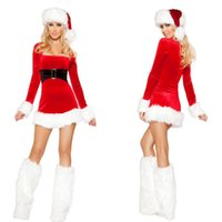 Wholesale Santa Dress Adult - Wholesale-2016 Top Quality Sexy Santa Christmas Lingerie Coat Dresses Adult Women Christmas Party Cosplay Costume Merry Xmas Clothes