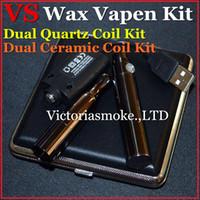 Wholesale nickel cases - Newest VS Wax Vapen Pen Kit Dual Quartz Coils Dual Ceramic Coils 650mAh battery black nickel with mini metal case vaping wax kit eCigs