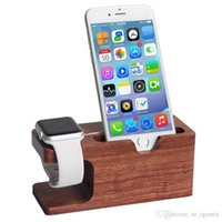 Wholesale Desk Dock Charger - Phone Watch Stand Wood Charging Station Wooden Dock 2 in 1 Bamboo Stand Desk Holder for iPhone iwatch & iPad