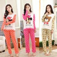 Wholesale Cartoon Pyjamas For Women - Wholesale- New 2017 Spring & Autumn Long Sleeve Pajamas For Women Thin Milk Silk Lovely Cartoon 90SGirl Pyjamas Women Clothes Free Shipping