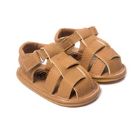 ingrosso sandali in mocassino in pelle-Estate Bambini Neonate Ragazzo Spiaggia Mocassini Sandalo in pelle Prima scarpe da passeggio Infantile Prewalker Scarpe da bambino Calzature per bambini Bambino Prima Wal