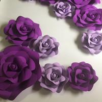 ingrosso carte di decorazione di sfondo-11pcs Giant Foam Paper Flowers Mix Lilla Purple Per Showcase Sfondo di nozze Sfondo Attività Decorazione Palcoscenico Puntelli