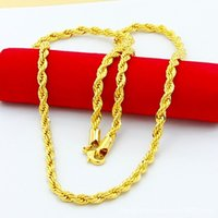 Wholesale Stainless 4mm Necklace - 3MM 4MM 5MM 24K Gold Plated Stainless Steel Necklace Chain Rope MENS 3MM 4MM 5MM 24K Gold Plated Stainless Steel Necklace Chain