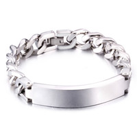 Wholesale Mens Silver Curb Bracelet - Charming Handsome Fashion Cool Jewelry Gift Silver 316L Stainless Steel Cuban Curb Chain ID Bracelet Mens 12mm 7.7''