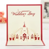 Wholesale Handmade Wedding Cards Designs - Church Wedding Handmade & Creative 3D Pop UP Gift & Greeting Cards With Church & Lover Design Free Shipping