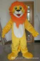 Mascot Costumes M lion SX0724 100% real picture a yellow lion mascot costume with orange hair for adult to wear