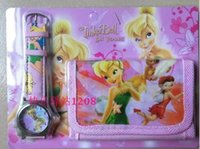 Wholesale Tinkerbell Wholesale Watches - New Fairy Tinkerbell kids Digital Watches and Wallets Sets Kids Fashion Quartz watches children Birthday Xmas Gifts with gift packaging