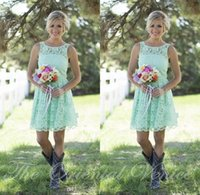 Wholesale Short Party Dresses For Juniors - 2017 Country Mint Green Lace Bridesmaid Dresses Formal Dress For Junior Short Mini Adult Bridesmaid Gowns Summer Cheap Wedding Party Dress