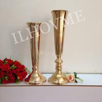 Wholesale Golden Flowers Decorations - 10PCS LOT Golden Silver Flower Vase European-Style Wedding Centerpiece Decoration Wedding Road Lead Flower Stand