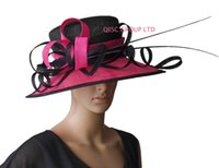 Wholesale Sinamay Hat Black - NEW Large brim fuchsia black Dress Church Sinamay Hat with ostrich spine for Kentucky Derby,wedding,party,Ascot