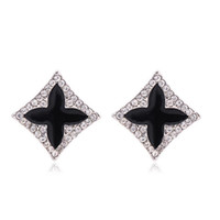 New Fashion Womens Jewelry 18K White Gold Plated Black Oil Drip Clear Crystal Quatro Trevo Stud Earrings