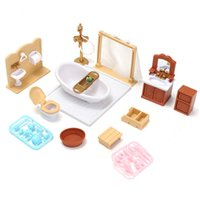 Wholesale Miniature Furniture Bathroom - DIY Miniatures Sofa Bedroom Bathroom Dining Table Furniture Sets For Doll House Craft Toys Acessories Christmas Birthday Gift