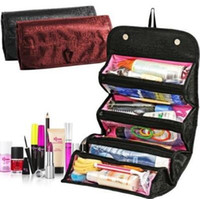 Wholesale Rolling Travel Cosmetic Bag - 2 Colors Roll N Go Cosmetics Toiletries Makeup Organiser Bag Pockets Travel Compartment Cosmetic Bags With Opp Package CCA8415 200pcs