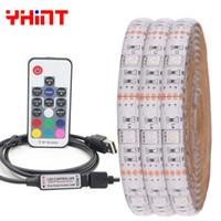 usb dekorationen für computer großhandel-DC5V USB RGB 5050 LED-Streifen 30 LED / m 50CM / 1M / 2M / 3m / 4m / 5m PC-Dekoration LED-Streifen PC-Hintergrundbeleuchtung LED 17 Schlüssel Fernbedienung