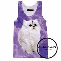 All'ingrosso-ALMOSUN Satan Cat 3D in tutto il carro armato di stampa Top Tee Sleeveless Hipster Hip Hop Street Wear Top Tee per Uomini