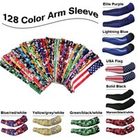 Unisex sport compression sleeves - 128 color Sports Compression Arm Sleeves Youth Adult Baseball Football Basketball Free DHL