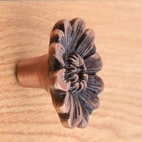 ingrosso manopole in armadio in rame antico-Vintage originalità crisantemo cassetto manopole bronzo antico scarpiera rame tira manopole mobili antichi manici piccoli
