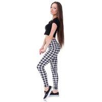 Wholesale Women Slimming Leggins - Women Fashion Legging cheerful check owl Printing leggins Slim High Waist Leggings Woman Pants free shipping