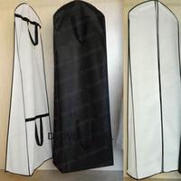 weißer mantel schwarz trimmen großhandel-Portable Weiß Schwarz Trim Bridal Wedding Dress Aufbewahrungsbeutel Gelegenheit Kleidungsstück Cover Verdicken Tasche Cover Store Storage Staubmantel 160 cm oder 180 cm
