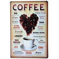 Wholesale LOVE HEART COFFEE Metal Tin Plaque Vintage Beer Decor Sign heart shape beans for cafe decoration LJ5 x30cm A1