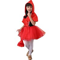Wholesale Red Hood Cosplay - little red riding hood kids princess dress kids halloween fancy dress costume cosplay costume child free shipping in stock