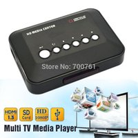 Wholesale Rmvb Video - Wholesale- 1080P Full HD SD MMC TV Videos SD MMC RMVB MP3 Multi TV USB HDMI Media Player with Remote Control