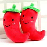 Wholesale Wholesale Red Peppers - Good Quality Dog Cat Chew Toy Pet Dog Red Pepper Toys Squeak Stuffed For Small Medium Large Pets Mix Color 100pcs  lot
