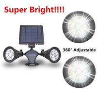 Wholesale Super Bright Led Spotlights - Super Bright RGB Solar Led Spotlight Solar Powered 8 LED Spot Light Waterproof Solar Lamp 2 Light Update Version 360° Angle Adjustable