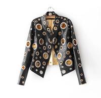 ingrosso giacche rivetti-Giacca in pelle nera da donna con rivetto 2017 Cappotto in PU oro Abbigliamento donna Giacca da motociclista sportiva slim sottile Capispalla casual