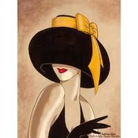 pinturas a óleo abstratas da lona mulheres venda por atacado-Arte decorativa mulher em pinturas abstratas chapéu amarelo preto óleo sobre tela para decoração de parede pintados à mão