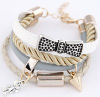 Wholesale Bow Metal Jewelry - Fashion Jewelry 20cm European & American style wild temperament simple metal bow angel rivet cortex multilayer bracelets