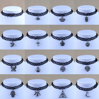 Wholesale Tattoo Design For Plastics - Tattoo choker necklaces for women silver charms pendant black plastic silicone strings 16 designs jewelry cheap