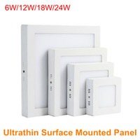 Wholesale Smart Ceiling Lighting - Surface Mounted Flat LED Panels 24W 18W 12W 6W 2835SMD Square Ultrathin Ceiling Light AC110V AC220V LED Downlight External Smart IC Driver