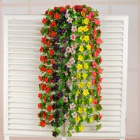 Wholesale Magnolia Wall - 2M Artificial Flower Vine Rattan Beautiful Magnolia Flower Bouquet Wedding Home Garden Party Coffee Shop Decoration Product Code:102-1007